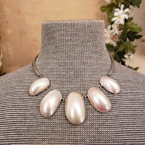 Silver White Pearlescent Necklace